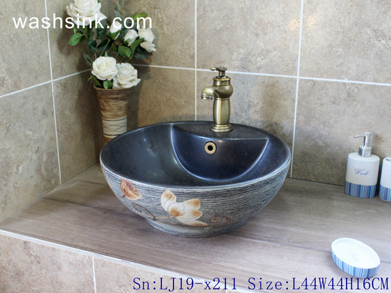Lj19 X211 Bowl Shape Carved Lotus Design Ceramic Wash Basin China Jingdezhen Shengjiang Ceramics Factory Porcelain Art Wash Hand Sink Art Basin Bathroom