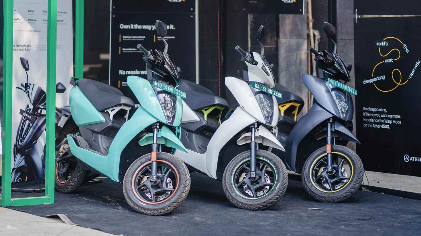 Prices of Ather Energy's 450 Plus and 450X scooters in Gujarat have dropped by Rs 20,000. Image: Ather Energy