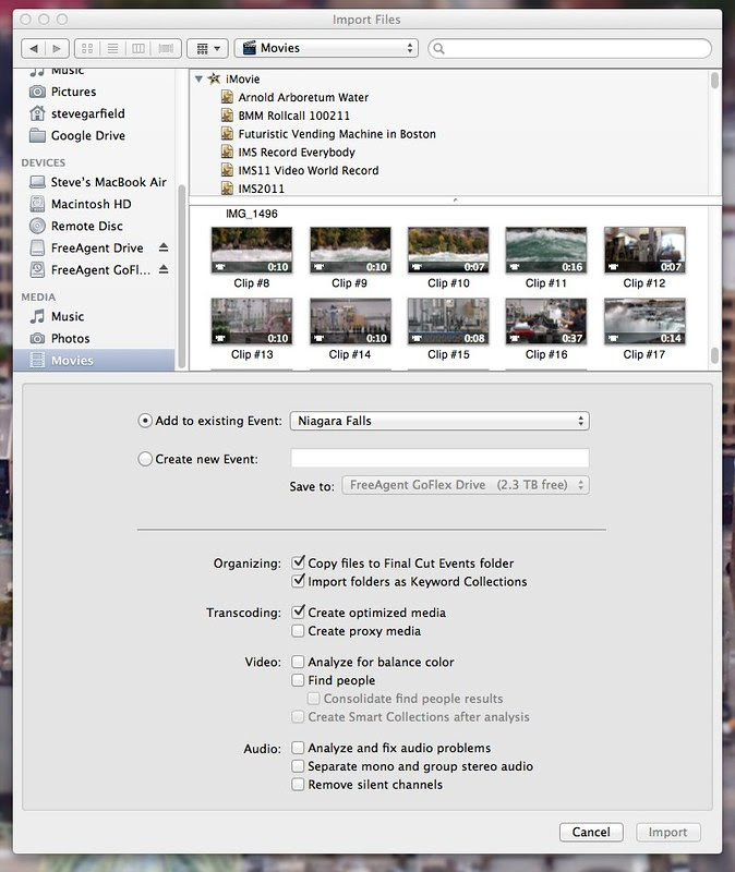 Import Movie Files from iPhoto into FCP X