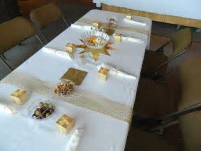 50th wedding anniversary table decorating ideas   Gold