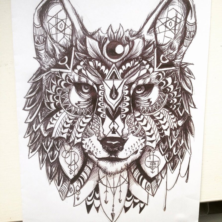 Wolf Geometric Drawing At Getdrawingscom Free For Personal Use