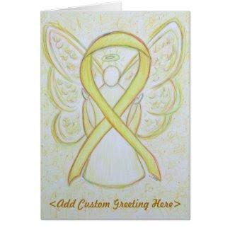 Yellow Awareness Ribbon Angel Custom Greeting Card