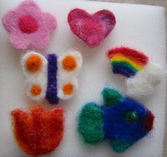 Needlefelted Pins ~ rainbow