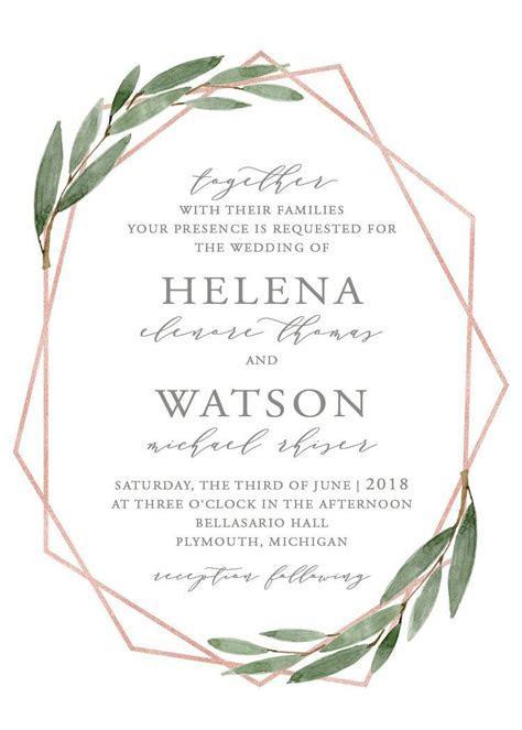 Greenery Geometric Rose Gold Wedding Invitation Set   Etsy