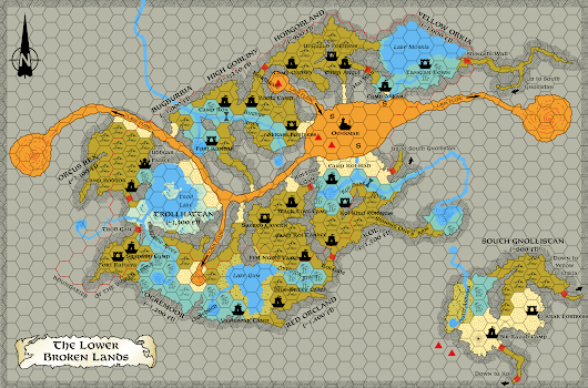 Lower Broken Lands, 8 miles per hex