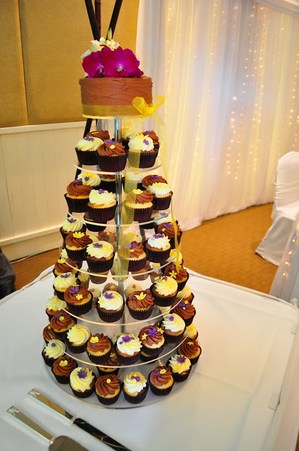 Purple and yellow wedding cupcakes Vanilla choc and choc vanilla cupcakes