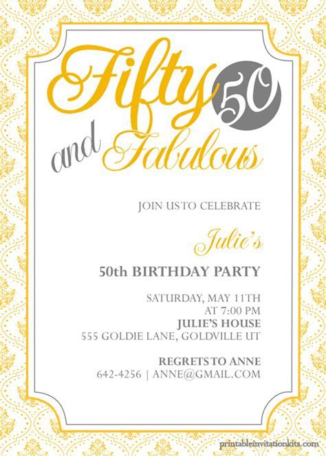 Fifty and Fabulous ? 50th Birthday Invitation   Party