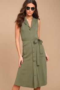Rock Steady Washed Olive Green Shirt Dress