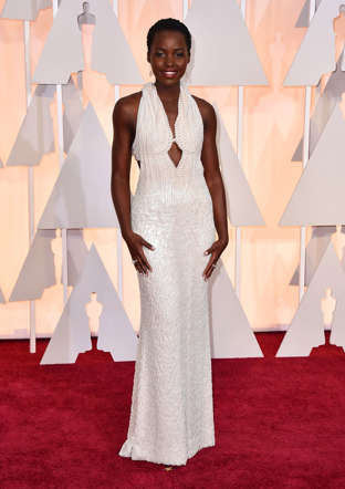 Lupita Nyong'o attends the Academy Awards at the Dolby Theatre in Los Angeles on Feb. 22, 2015.