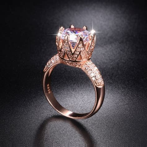 Solid 100% 925 Sterling Silver & rose gold Wedding Rings