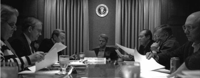 March 23, 1994 Bosnia meeting in the Situation Room with Madeleine Albright, Tony Lake, Warren Christopher, President Clinton, William Perry, John Shalikashvili, and others. (Courtesy: William J. Clinton Presidential Library)