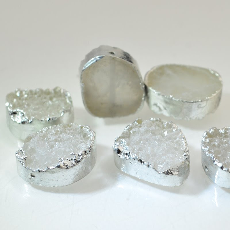 s46661 Stone Beads -  Free Form Oval - Natural Druzy (with Silver Plated Sides) (1)