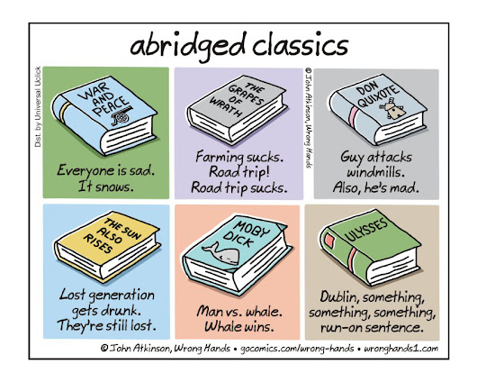 Abridged versions of classic novels for people who don't have time (cartoons)