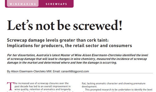 MW dissertation claims that screwcaps cause more wine damage than cork — jamie goode's wine blog