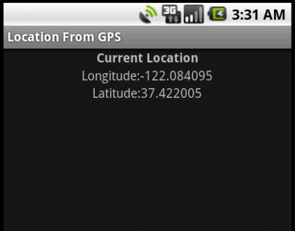 Showing Longitude and Latitude of the current location