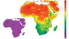 De røde og skraverte områdene viser hvor i Afrika temperaturen vil øke (Foto: met.no)