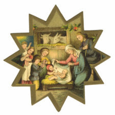 Antique Nativity Christmas Ornament photosculpture