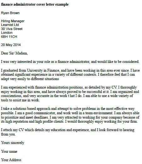 Finance Administrator Cover Letter Example Learnist Org