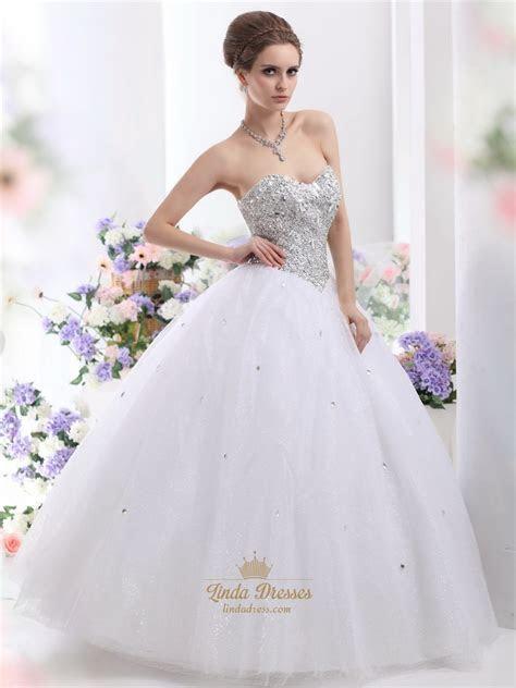 White Sweetheart Neckline Sequin Bodice Wedding Dress With