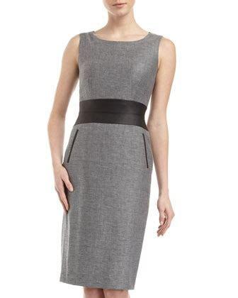 Karen Faux Leather Waist Tweed Dress by Lafayette 148 New
