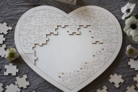 Wooden Heart Jigsaw Puzzle Wedding Guest Book ? The