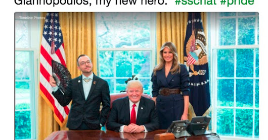 LGBT teacher uses hand fan in photo with Trump, who loves it