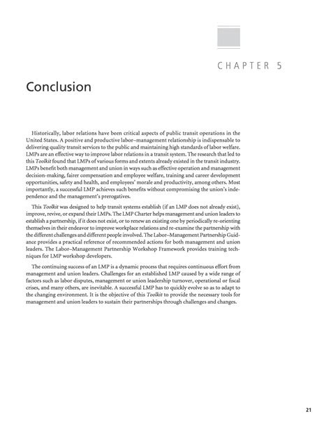 Chapter 5 - Conclusion | Labor–Management Partnerships for