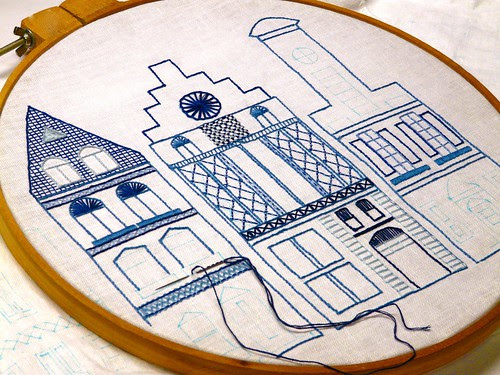Dutch Canal Houses embroidery