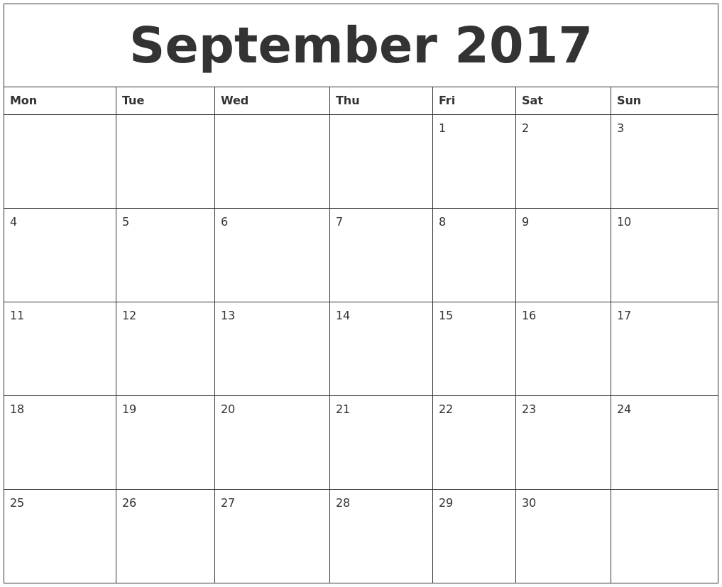 September 2017 Blank Monthly Calendar Template PDF39;s