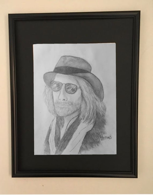 Tom Petty Pencil Portrait Framed and Matted Art Print Rock