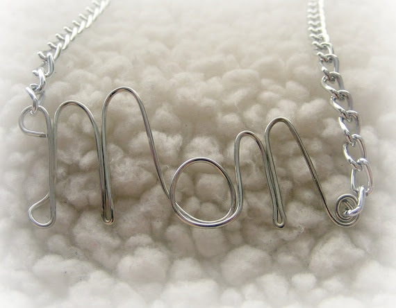 Necklace Custom Hand Wrapped Wire Your Choice of Word,  Name, or Initials