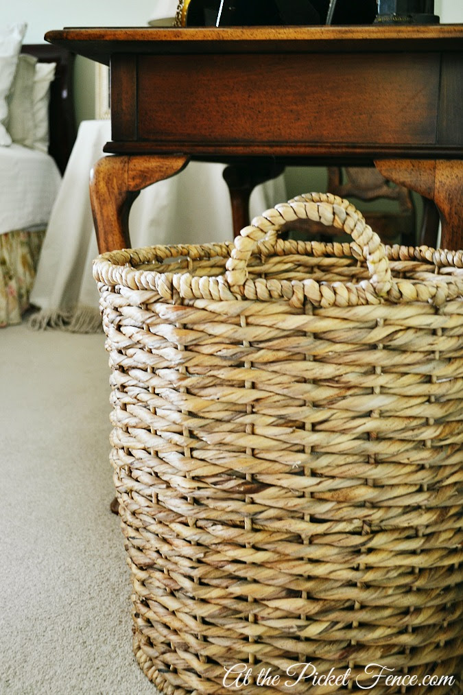 large round basket in bedroom