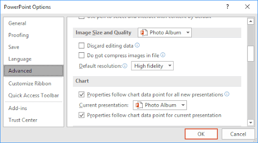 How to compress pictures in the presentation