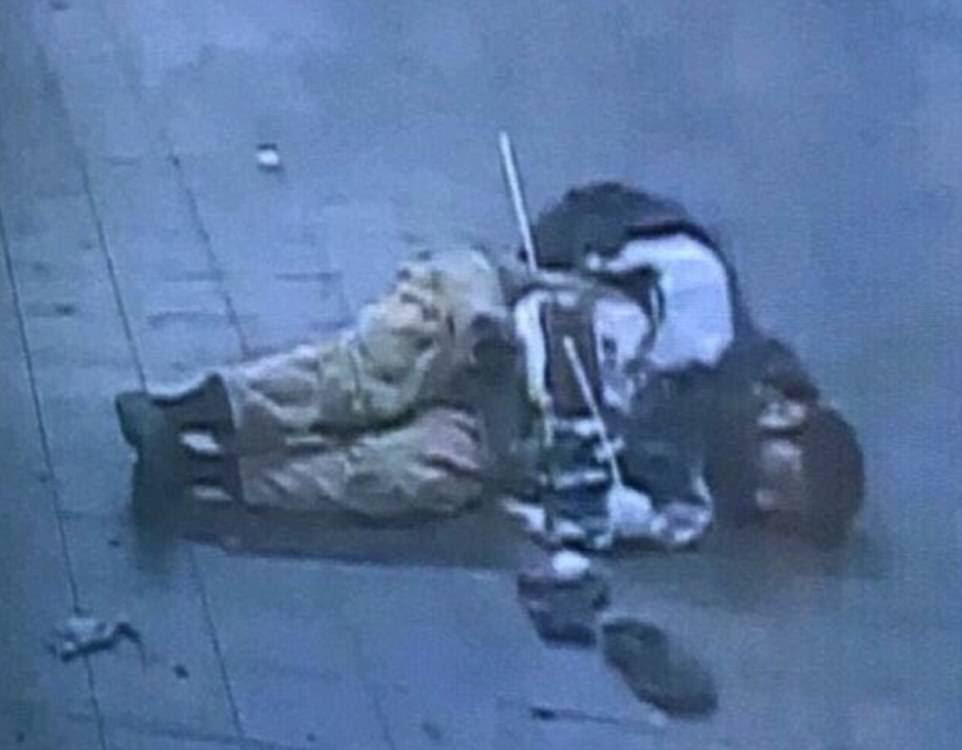 The bomber is seen above lying on the ground in the transit tunnel seconds after badly burning himself by detonating his homemade pipe bomb