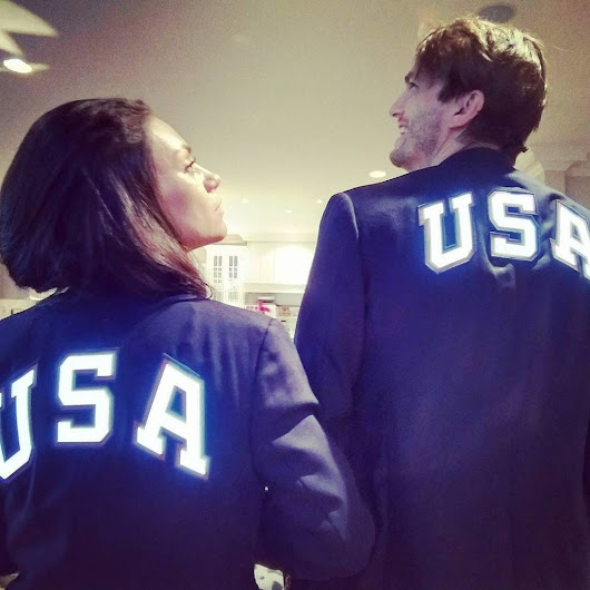 "ashton kutcher on Twitter: ""Arm chair Olympians. Go team USA!!! We got your back! Ty for the blazers @ralphlauren #lik…  """