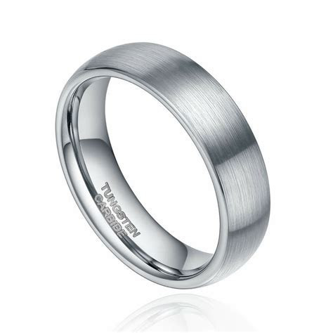 6mm/8mm Tungsten Carbide Ring Wedding Band Dome Brushed