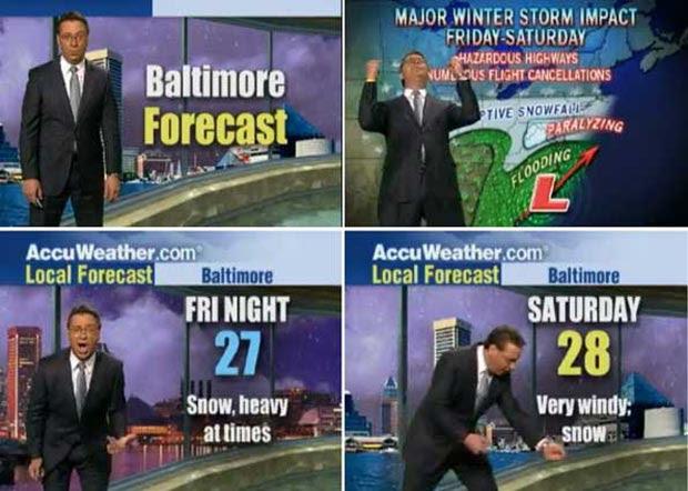Em fevereiro de 2010, Oo meteorologista Jim Kosek, da rede americana Accuweather, surtou ao anunciar tempestade de neve nos EUA. Aos berros e de maneira performática, ele afirmou que a costa leste sofreria com uma 'paralisante e amedrontadora tempestade de neve'.  (Foto: Reprodução)
