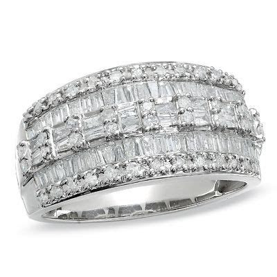 1 CT. T.W. Baguette and Round Diamond Three Row Ring in