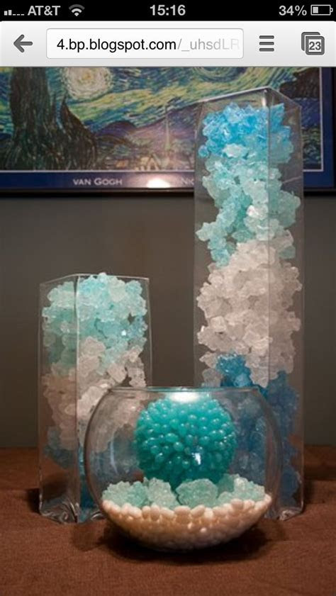 Rock candy in a vase centerpiece   Early birthday ideas