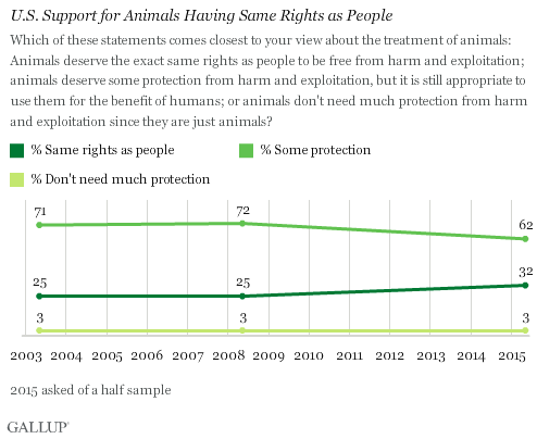 In U.S., More Say Animals Should Have Same Rights as People