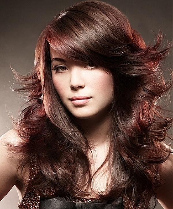 Natural Red Highlights in Brown Hair