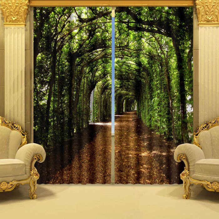 Fantastic Green Corridor Polyester 2-Piece 3D Curtains