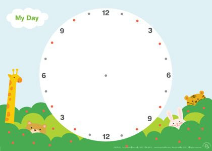 Printable daily planner for kids in blank 24 hour circle. Draw ...