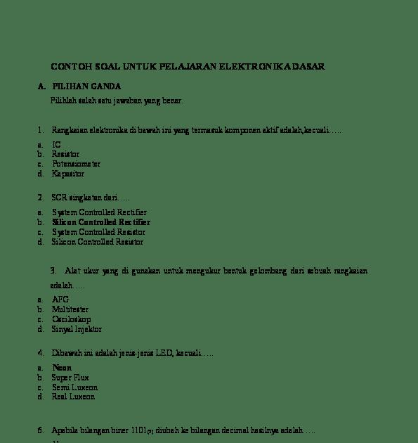 Contoh Soal Elektronika Dan Jawabannya