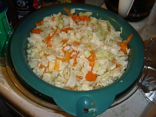 Soaking cabbage