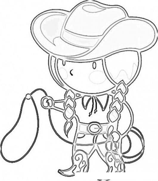 Dibujo De Vaquerita Con Sombrero Lazo Y Botas Vaqueras Para Pintar Y