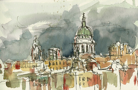 Sketch of St Paul's, London, UK