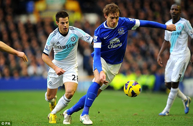 Under pressure: Everton's Nikica Jelavic attempts to control the ball in front of Chelsea's Cesar Azpilicueta