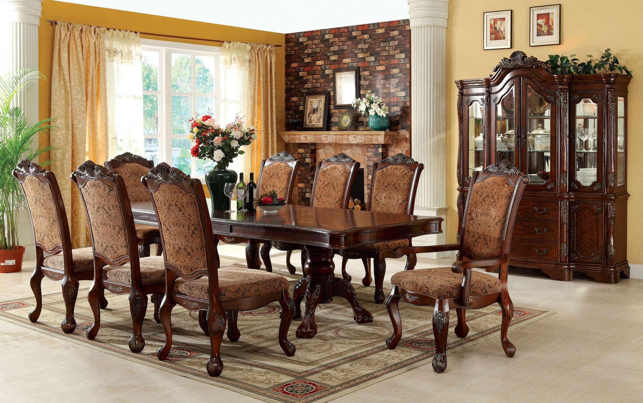 Cromwell Antique Cherry Formal Dining Room Set, CM3103TTABLE, Furniture of America