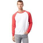 Alternative Eco-Fleece Champ Color blocked Crewneck Sweatshirt, White/Red